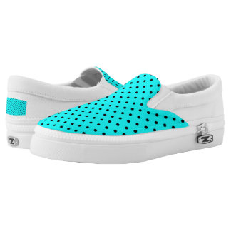 Turquoise polka dot background printed shoes