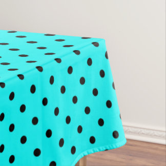 Turquoise polka dot background tablecloth