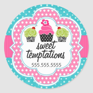 Turquoise Polka Dot Cupcake Bakery Business Classic Round Sticker