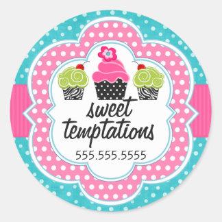 Turquoise Polka Dot Cupcake Bakery Business Round Sticker