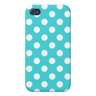 Turquoise Polka Dot iPhone 4/4S Covers