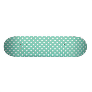 Turquoise Polka Dot Pattern Custom Skateboard