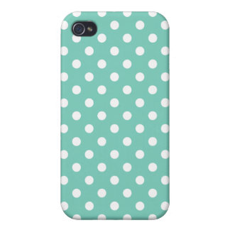 Turquoise Polka Dot Pattern iPhone 4 Cover