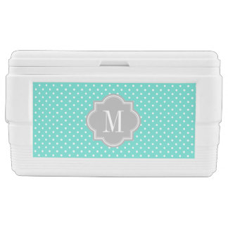 Turquoise Polka Dot with Gray Monogram Chest Cooler