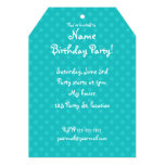 Turquoise polka dots 13 cm x 18 cm invitation card