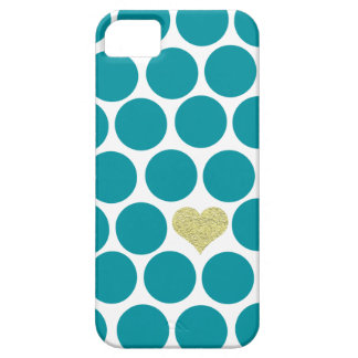 Turquoise Polka Dots Glitter Heart iPhone Case For The iPhone 5