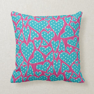 Turquoise Polka Dots Hearts on Pink Stripes Cushion