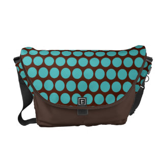 Turquoise Polka Dots Messenger Bag