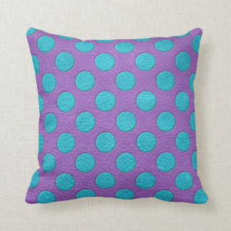 Turquoise Polka Dots on Purple Leather print Throw Pillow