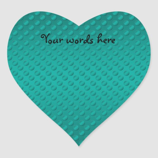 Turquoise polka dots on turquoise background heart sticker