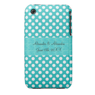 Turquoise polka dots wedding favors iPhone 3 Case-Mate case