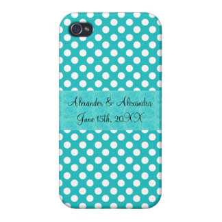 Turquoise polka dots wedding favors iPhone 4/4S case
