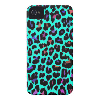 Turquoise Pop Leopard Print iPhone 4 Covers
