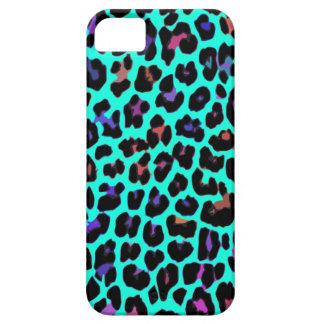 Turquoise Pop Leopard Print iPhone 5 Cases
