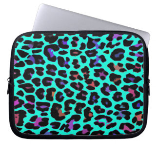 Turquoise Pop Leopard Print Laptop Sleeve
