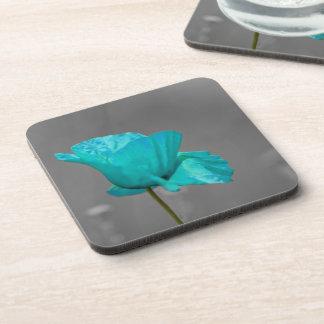 Turquoise Poppy flower Coasters
