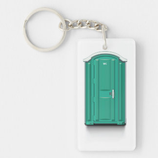 Turquoise Portable Toilet Single-Sided Rectangular Acrylic Key Ring