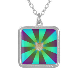 Turquoise Purple and Green Sunbeams + Cat Silver Plated Necklace