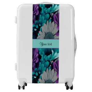 Turquoise & Purple Daisies Luggage