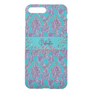 Turquoise Purple Damask Print Monogram iPhone 8 Plus/7 Plus Case