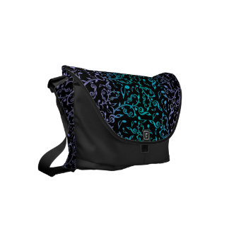 Turquoise Purple Music Notes On Black Commuter Bag