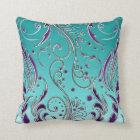 Turquoise Purple swirl Cushion