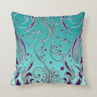 Turquoise Purple swirl Cushion