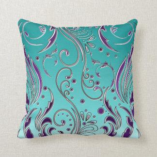 Turquoise Purple swirl Throw Pillow