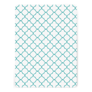 Turquoise Quatrefoil Pattern Custom Announcements