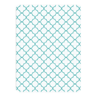 Turquoise Quatrefoil Pattern Custom Announcements