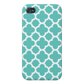 Turquoise Quatrefoil Trellis Pattern iPhone 4 Case