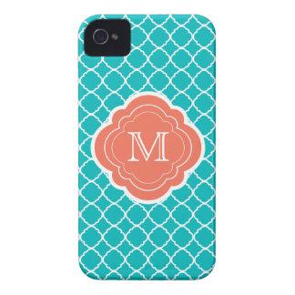 Turquoise Quatrefoil with Coral Monogram iPhone 4 Cases