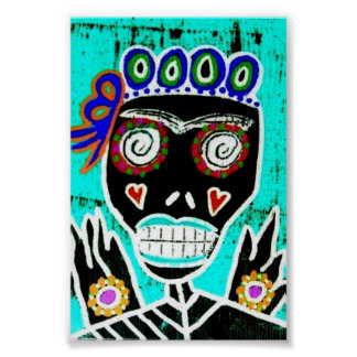 Turquoise Queen Sugar Skull Poster