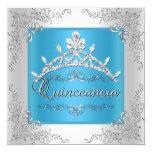 Turquoise Quinceanera 15th Birthday Silver Tiara 13 Cm X 13 Cm Square Invitation Card