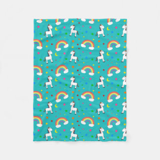 Turquoise rainbow unicorn hearts stars pattern fleece blanket