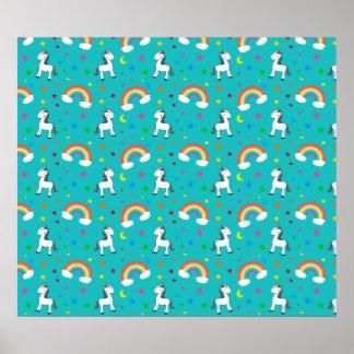Turquoise rainbow unicorn hearts stars pattern posters