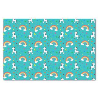 Turquoise rainbow unicorn hearts stars pattern tissue paper