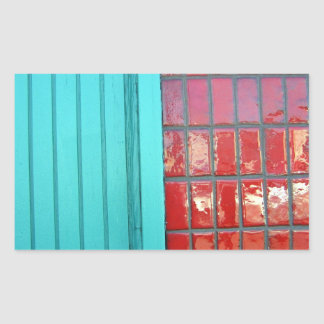 Turquoise Red Abstract Rectangular Sticker