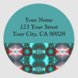 turquoise red abstract round sticker