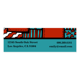 Turquoise Red Black High Fashion Boutique Designer Business Card