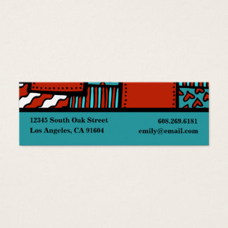 Turquoise Red Black High Fashion Boutique Designer Mini Business Card