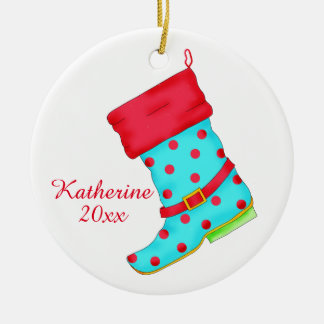 Turquoise Red Boot Art Shoe Lover Christmas Name Round Ceramic Decoration