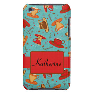 Turquoise & Red Coffee Cup Pattern Personalized iPod Case-Mate Cases