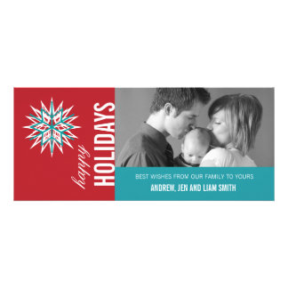 TURQUOISE RED MODERN HOLIDAY PHOTO CARD
