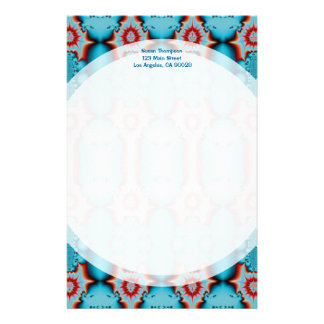 turquoise red personalised stationery