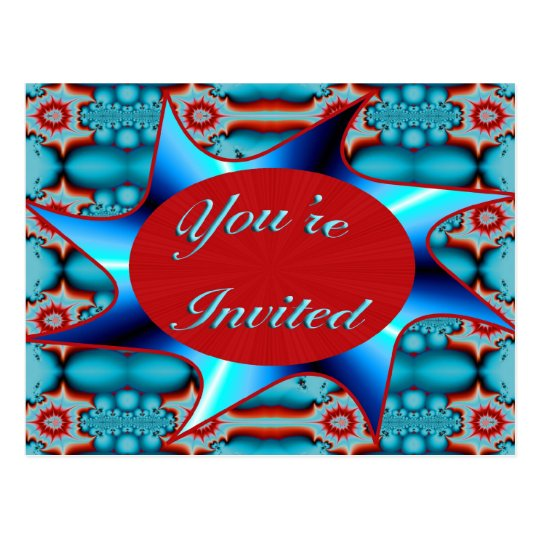 turquoise red you're invited postcard