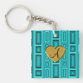 Turquoise retro squares monogram acrylic key chain