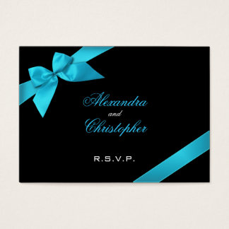 Turquoise Ribbon RSVP Minicard Business Card