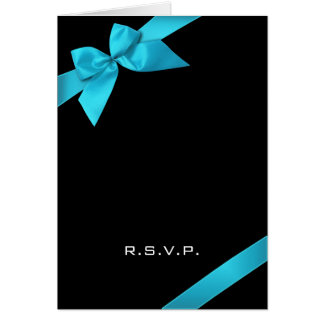 Turquoise Ribbon RSVP Note Note Card