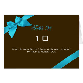 Turquoise Ribbon Table Place Card